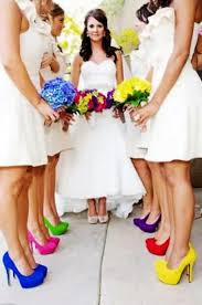 color pop different color bridesmaids shoes someday maybe