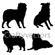 australian shepherd illustration australian shepherd dog svg silhouettes by craftyvectors on etsy