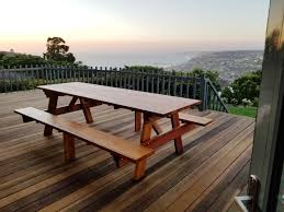 Round Redwood Picnic Table by Redwood Picnic Table