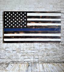 wood flag thin blue line flag us flag police flag wood