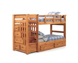 Wooden Bunk Bed With Stairs Brown Wooden Bunk Bed With Drawers The Bed Also
