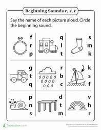 review beginning sounds r s and t phonics worksheets and