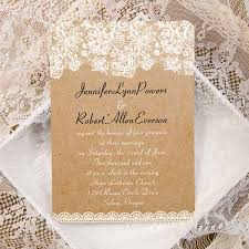 vintage floral lace burlap ticket shape wedding invitations