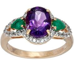 emerald amethyst rings images Oval amethyst pear emerald white zircon ring sterling 2 00 cttw 001