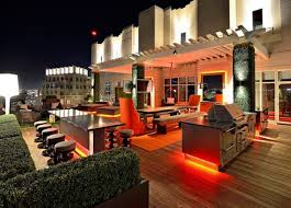 contemporary concept plus interesting lighting for outdoor bar