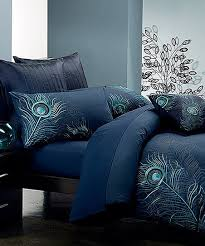 seasons collection navy blue peacock feather duvet cover set zulily