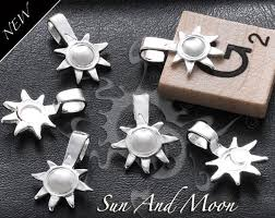 small sun and moon bails sterling silver plated