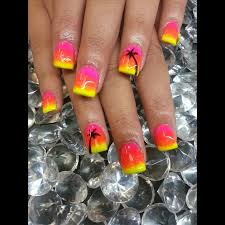 hawaii nails pink orange yellow shellac ombre with palm trees