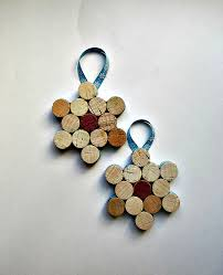 wine cork snowflake ornament wine bottle decoration set of 2