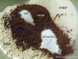 dry ingredients for vintage chocolate crazy cake2 bakethiscake