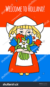 welcome holland sweet big bouquet stock vector 610573253