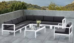 salon jardin 8 personnes salon de jardin bas d angle design 8 places blanc et gris