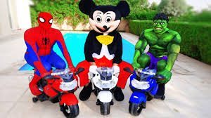 paw patrol power wheels spiderman mickey mouse u0026 hulk motorbike fun w power wheels kids