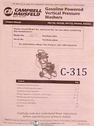 campbell hausfeld pw1755 pw2200 pw1753 pw2450 pw2455 gasoline