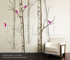 Tree Wall Decals For Living Room Birch Trees Wall Decal Birds Living Room Wall Decals Wall