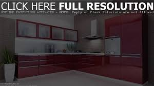 Kitchen Cabinet Interiors Ultra Modern Glossy Red Rose And Silver Paint Wooden Galley F
