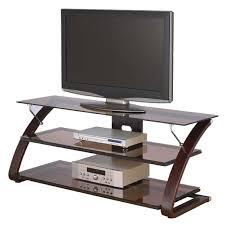 Z Line Designs Computer Desk Z Line Designs Keira 3 Shelf Mocha Glass Tv Stand For 32 55 Inch