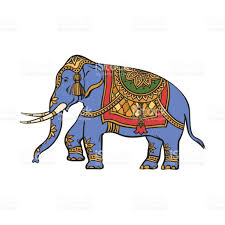 vector sketch indian gold decorated elephant stock vector art