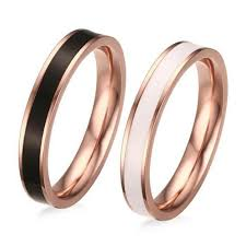 couples rings gold images Black white rose gold titanium steel promise rings for couples jpg