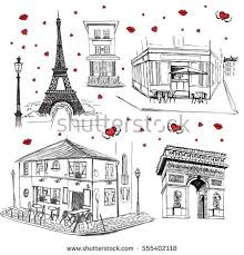 set hand drawn french icons paris stock vector 555402118