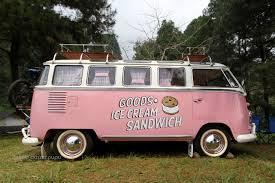 pink volkswagen van campervan rental jakarta vw campervan