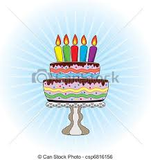 clip art vector of vector birthday cake on a stand with burning