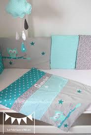 chambre bébé turquoise couverture bébé turquoise vert d eau mint hibou étoiles prénom
