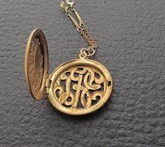 monogrammed locket locket necklace etsy uk best necklace design 2017