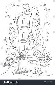 mermaid s castle ocean bottom coloring stock vector 525413791