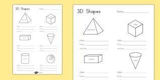 3d shape properties worksheets australia 3d shape