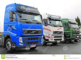 volvo lorry three colorful volvo trucks editorial image image 66846650
