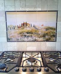 tuscan tile murals kitchen backsplashes tuscany art tiles backsplash with subway tile 30 x 18 size of tusacny in the mist