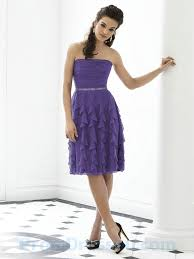 dress for wedding party buy tailor made strapless chiffon purple knee length ruffled