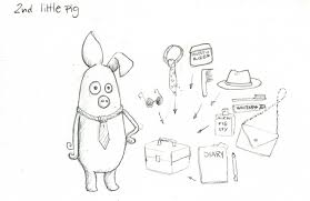 3 little pigs character sketches make awesome art