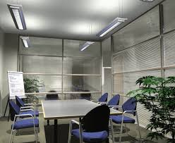 small office meeting room design with hanging led lamp lighting