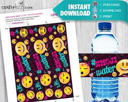 Decorate Water Bottle Emoji Birthday Party Water Bottle Labels Printable Labels Diy