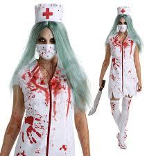 womens zombie nurse halloween fancy dress costume hat mask