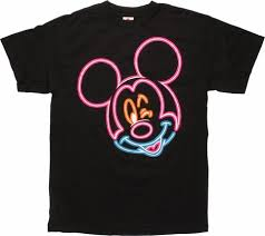 mouse winking neon outline shirt