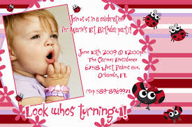 Invitation Cards For Birthday Baby Picture Birthday Invitation Cards Cute Sample Pink Red Color