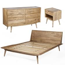 Mid Century Modern Bedroom by Joren 4 Piece Bedroom Set Queen Beds Nightstands And Mid