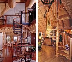 log home staircases real log homes