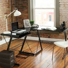 Black Glass Computer Desks For Home Stunning Corner Computer Desk With Glossy Black Glass Top And