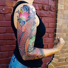 koi fish sleeve tattoo by custom tattoos by adam sky san