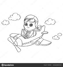 little boy flying in a toy plane coloring page vector u2014 stock