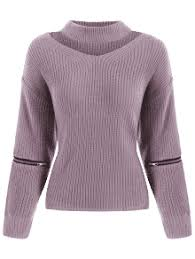 purple sweater choker sweater cut out chunky choker sweater zaful