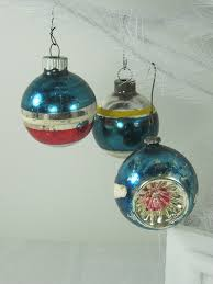 vintage mercury glass ornaments in teal by lavendergardencottag