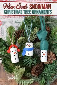 make diy wine cork snowman tree ornaments using wine