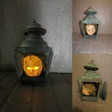 halloween lantern lights creepy light up haunted house scary doll head gothic metal lantern
