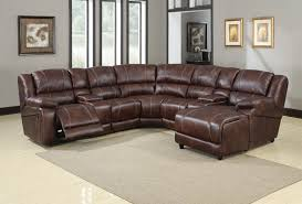 brown polished microfiber 7 piece reclining sectional by acme 50300