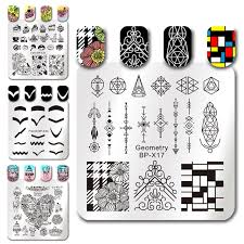 born pretty geometry figure nail stamping plates flower wedding